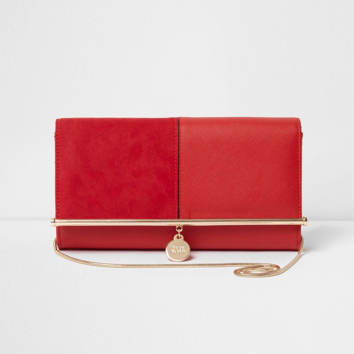 Red bar top charm clutch bag