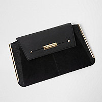 Black metal bar side clutch bag