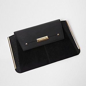 Black metal bar side clutch bag
