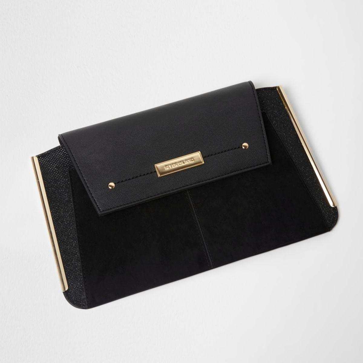 Pochette noire avec barre latérale métallique
