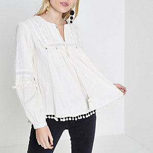Petite cream pom pom trim smock top