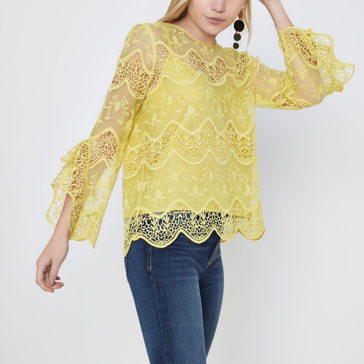 Petite yellow lace frill sleeve top