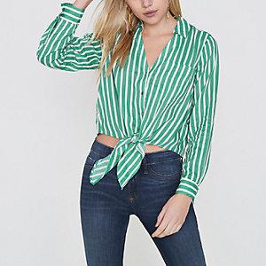 RI Petite - Groen gestreept cropped overhemd met knoop voor