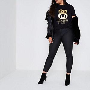 RI Plus - Zwart T-shirt met 'simplicite'-folieprint