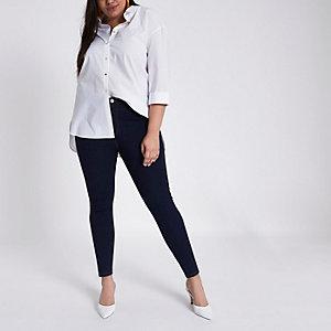 Plus – Harper – Dunkelblaue Jeans mit hohem Bund
