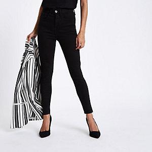 Petite – Harper – Schwarze Skinny Jeans mit hohem Bund