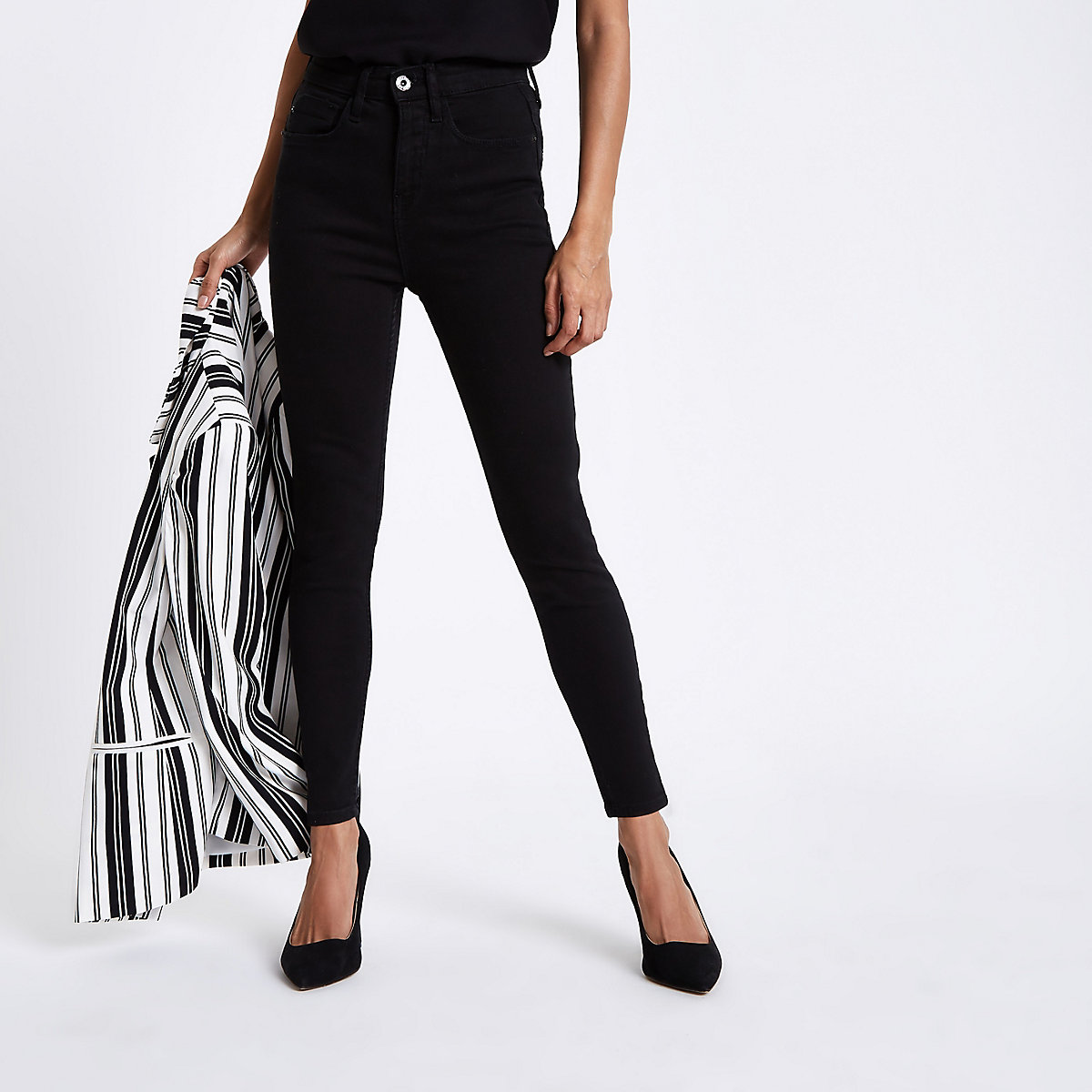 Petite black Harper high waisted skinny jeans
