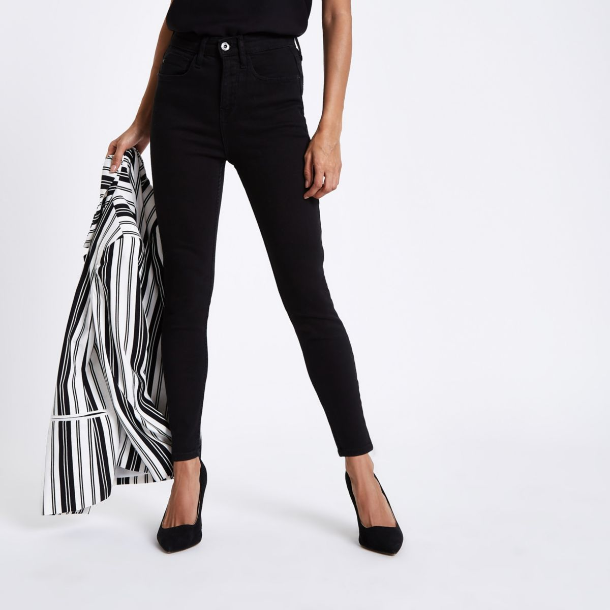 Petite black Harper high waisted skinny jeans