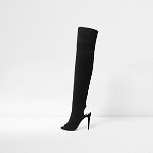Black peep toe over the knee shoe boots