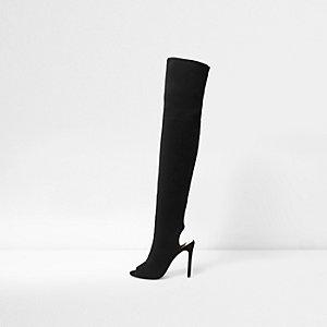 Zwarte over-de-knie-schoenlaarzen met peeptoe