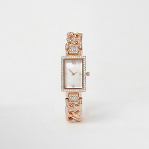 Rose gold tone rhinestone rectangle watch