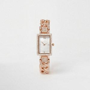 Roségoudkleurig rechthoekig horloge met stras