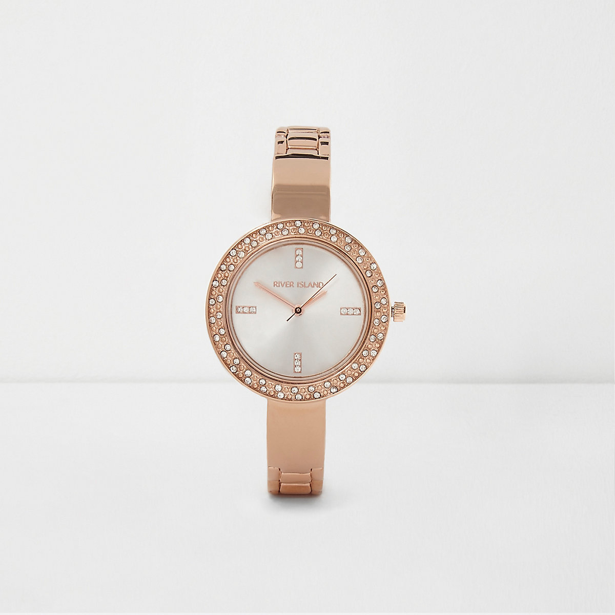 Rose gold tone thin link strap rhinestone watch