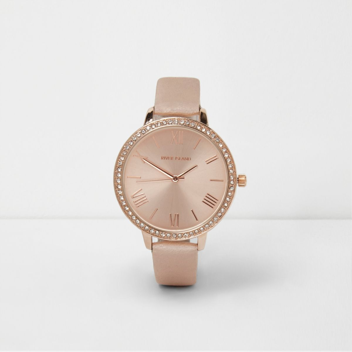 Green and rose gold tone strap watch