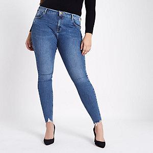RI Plus - Amelie - Blauwe superskinny jeans met scheur bij de zoom