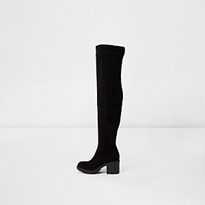 Black chunky sole over the knee boots