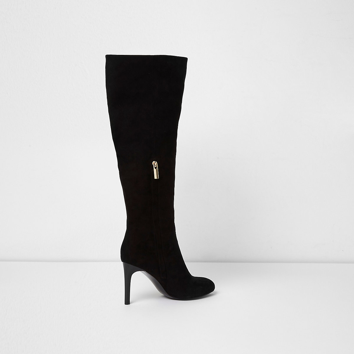 ... Zwarte kniehoge laarzen met stilettohak ...