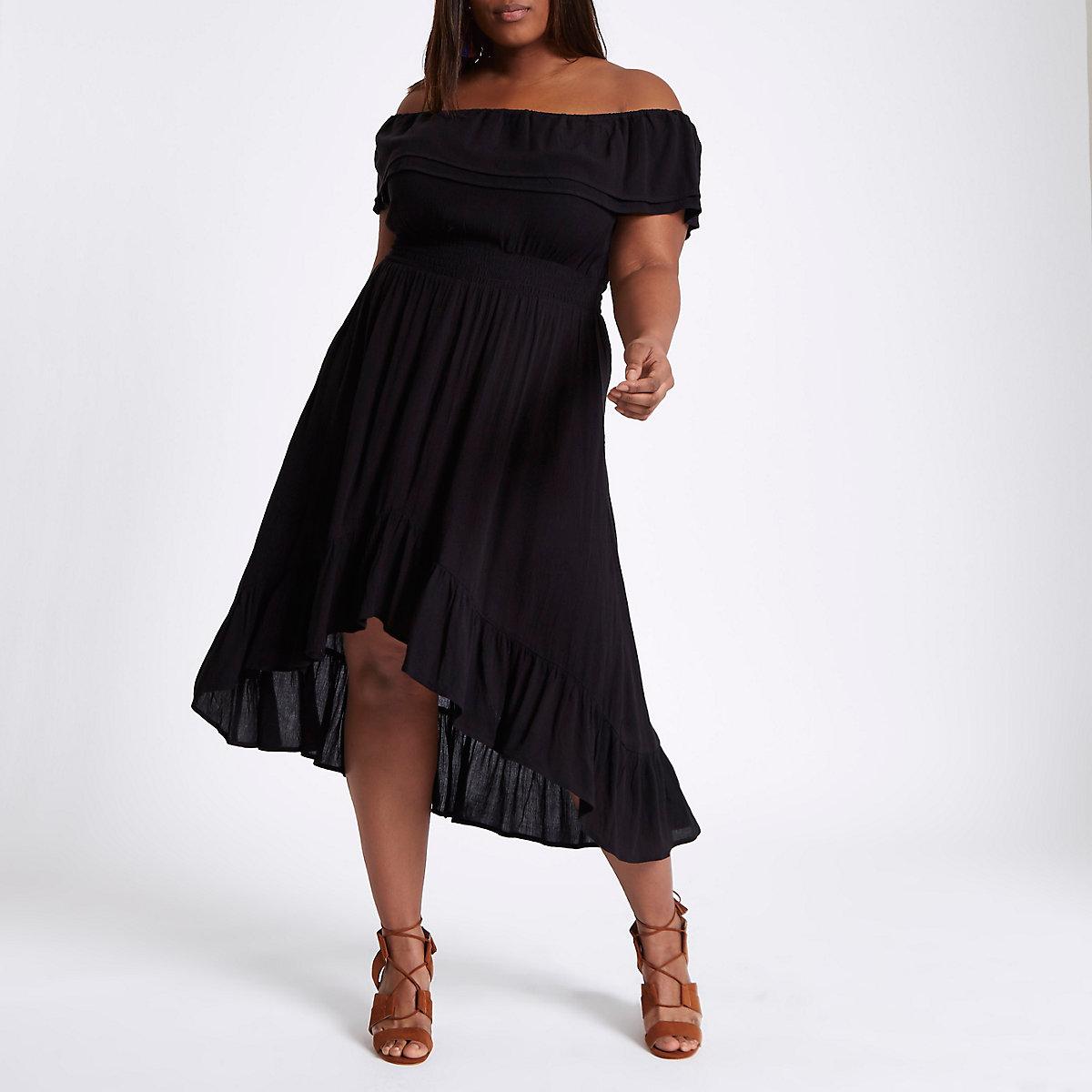 Plus black frill bardot maxi dress
