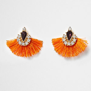 Orange tassel fan rhinestone gem earrings