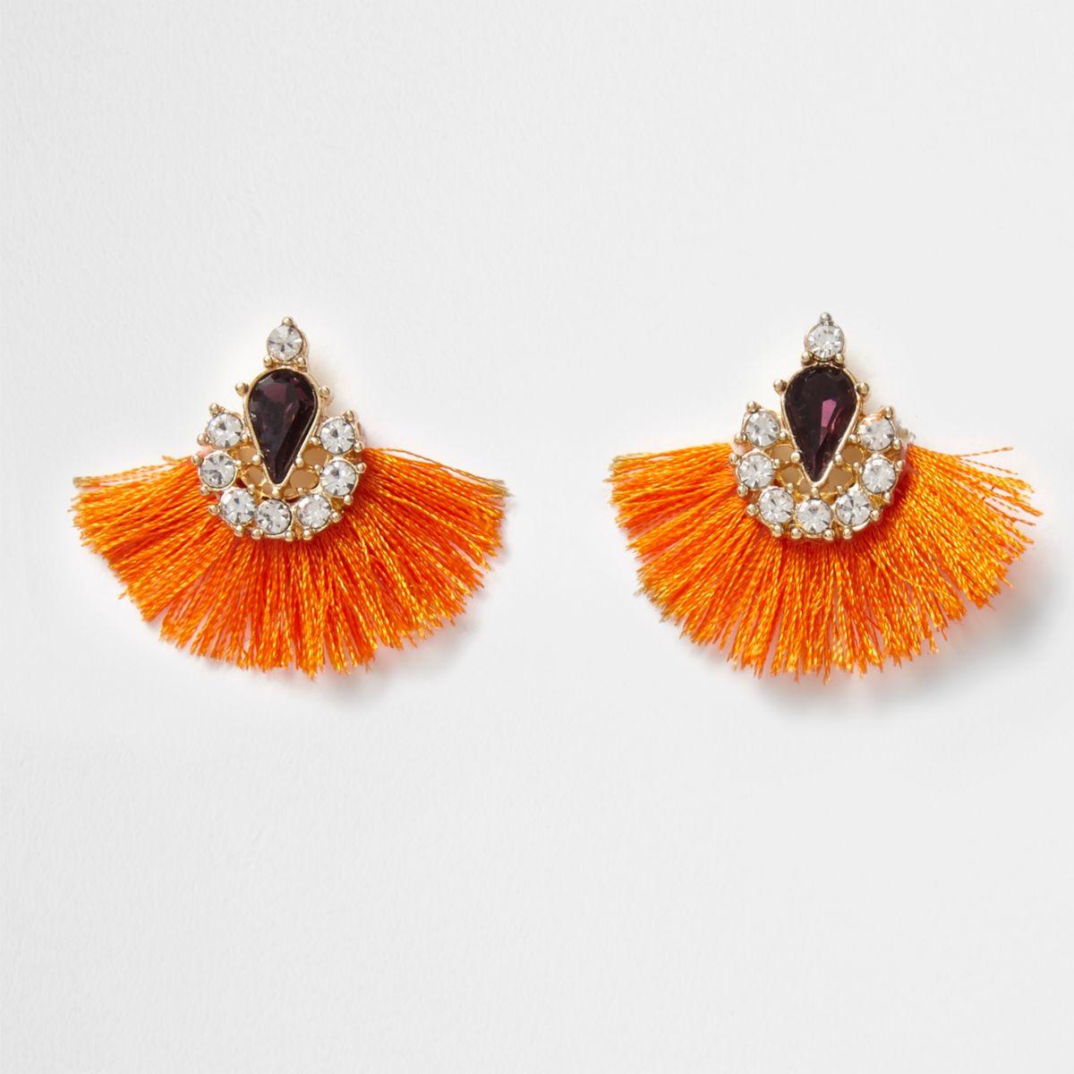 Orange tassel fan rhinestone gem earrings