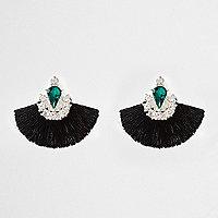 Black tassel fan gem diamante earrings
