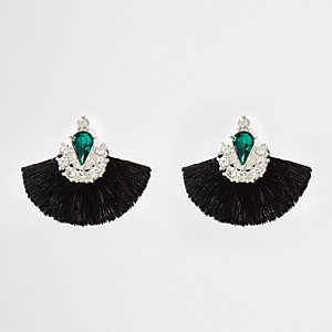Black tassel fan gem rhinestone earrings