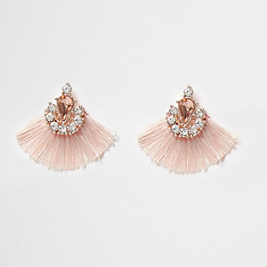 Pink jewel tassel fan stud earrings