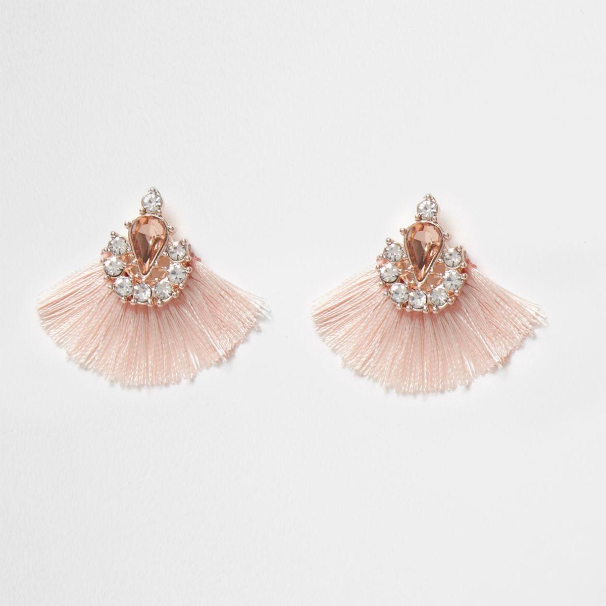 Pink jewel tassel fan stud earrings