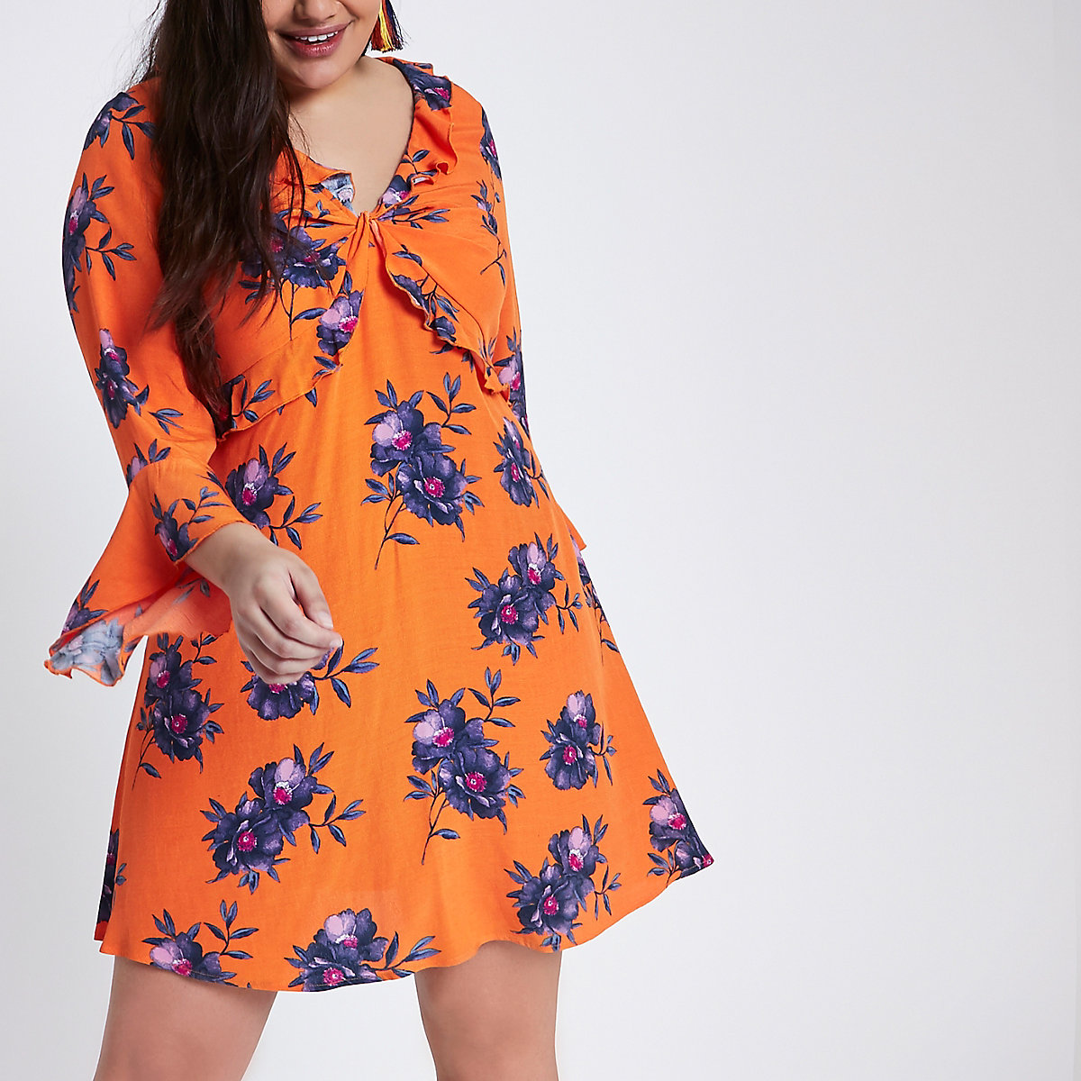 Plus orange floral print twist frill dress