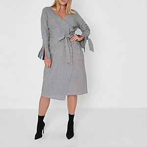 Plus black houndstooth check wrap midi dress