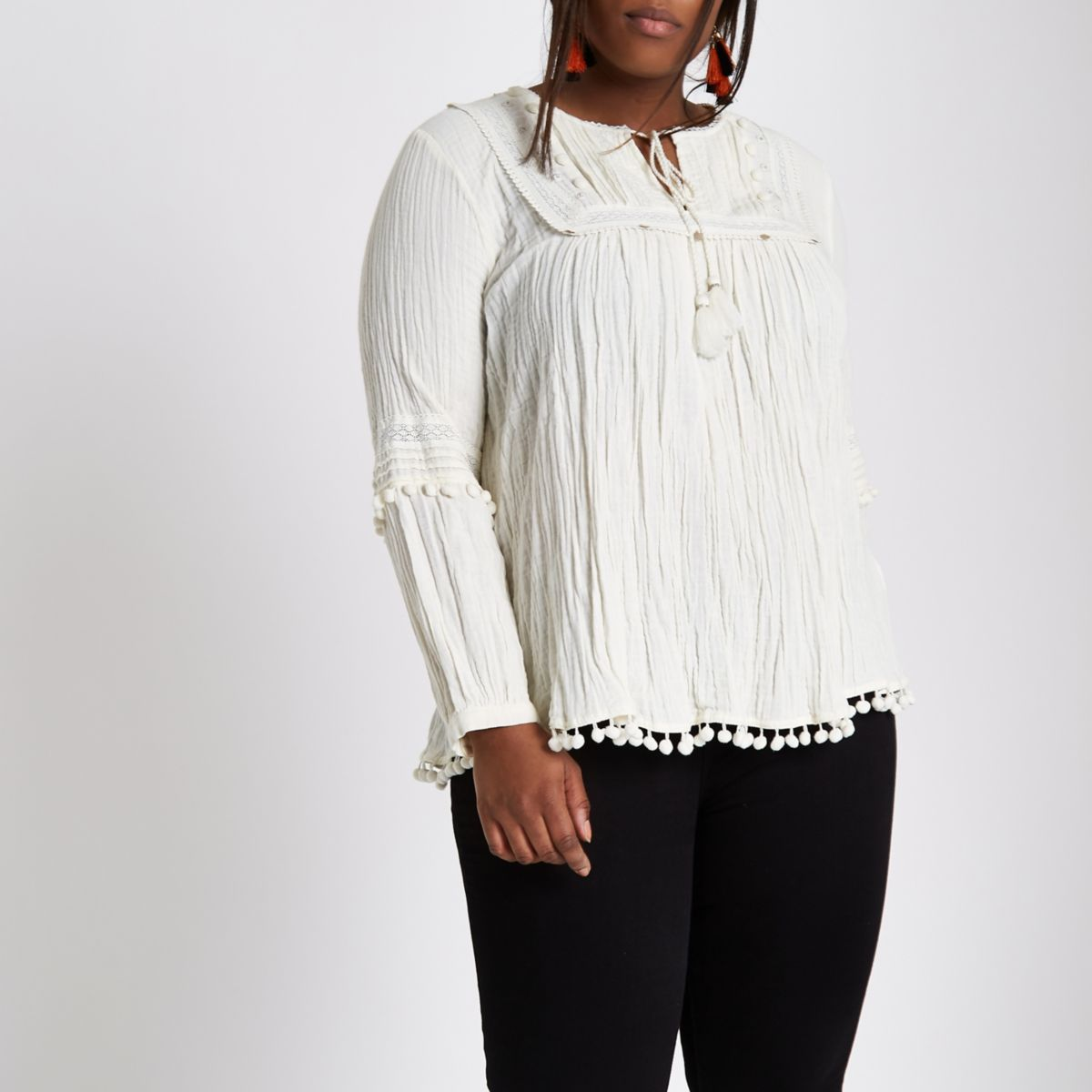 Plus cream pom pom trim smock top