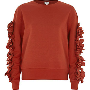 Red frill sleeve sweatshirt