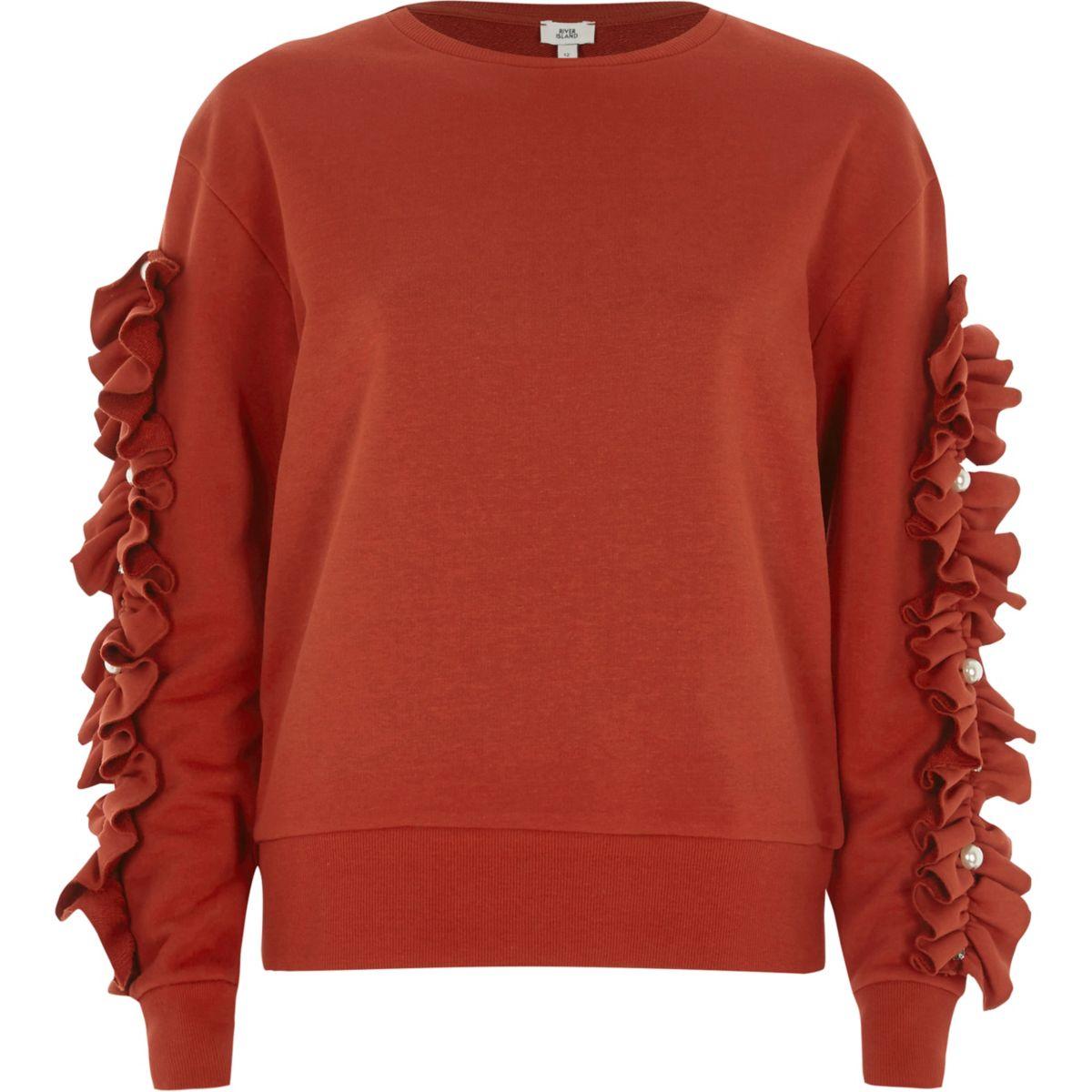Rotes Sweatshirt mit Rüschen