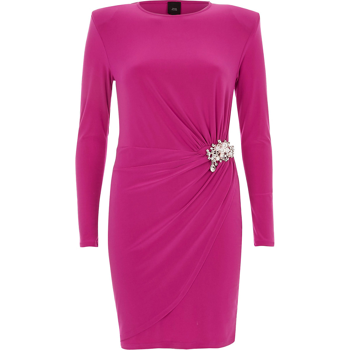 Bright pink pearl brooch wrap bodycon dress