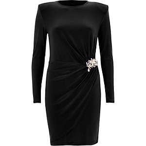 Black pearl brooch wrap bodycon dress