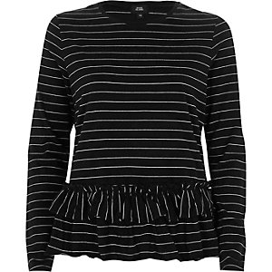 T-shirt péplum rayé noir à manches longues