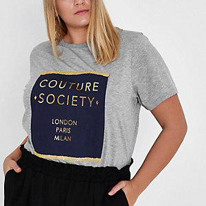 Plus grey 'couture society' print T-shirt