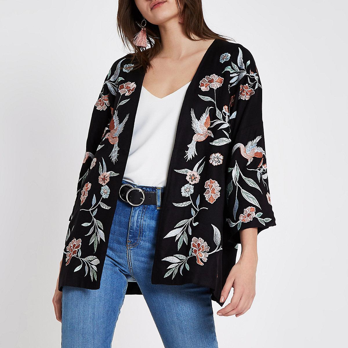 Black floral and bird embroidered kimono