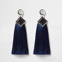 Blue jewel tassel drop earrings