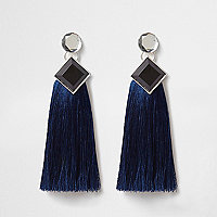Blue jewel tassel drop earrings