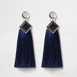 Pendants d'oreilles à pierres bleues