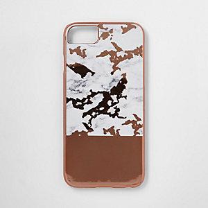 Coque pour téléphone doré rose marbrée