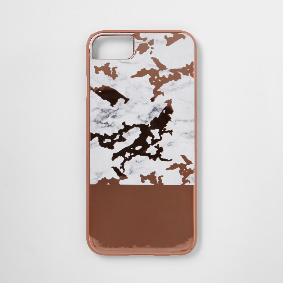 Rose gold tone marble phone case