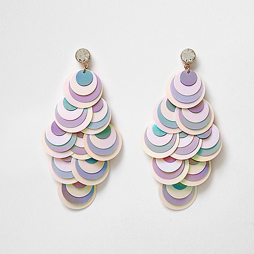White iridescent sequin drop earrings