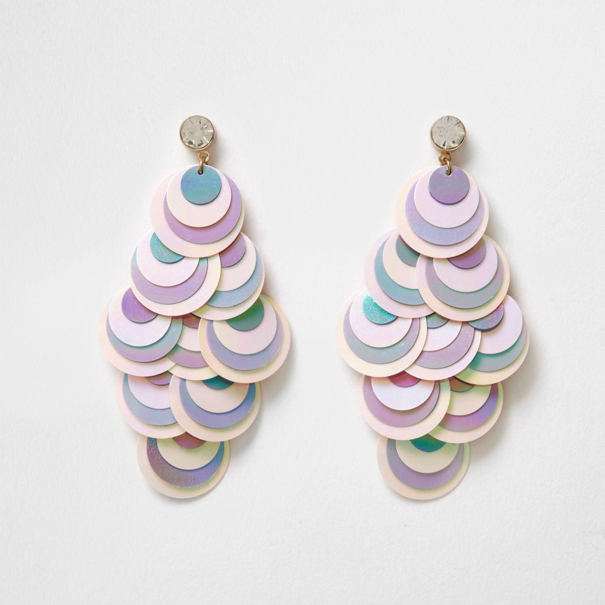 White iridescent sequin drop earrings