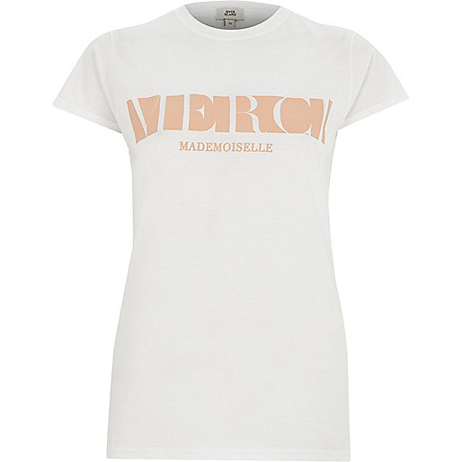 White 'merci' fitted short sleeve T-shirt