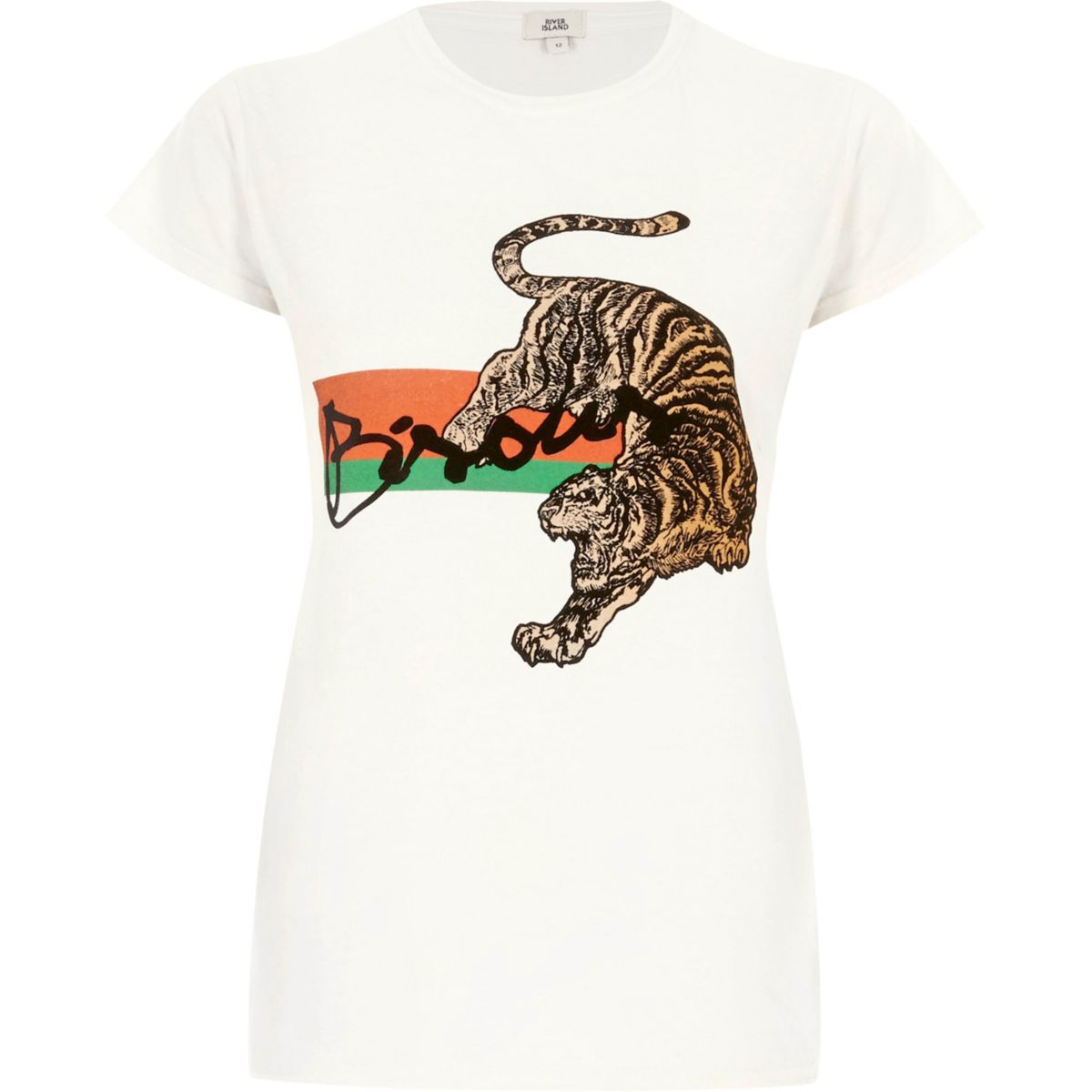 Cream 'bisous' tiger print fitted T-shirt