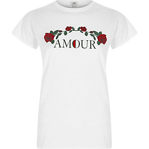 White 'amour' rose print fitted T-shirt