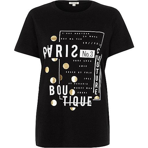 Black 'Paris boutique' print fitted T-shirt