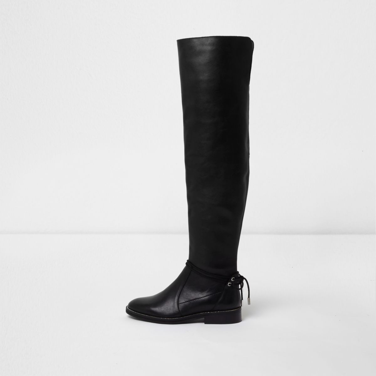 Zwarte platte leren over-de-knie-laarzen